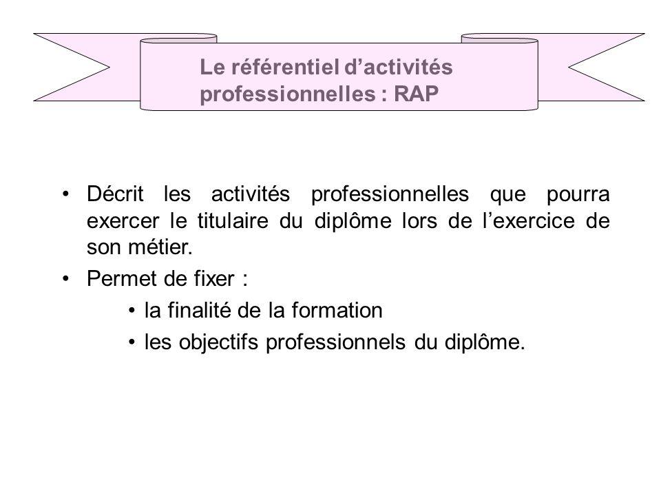 Décrit les activités professionnelles que pourra exercer le titulaire du diplôme lors de lexercice de son métier.