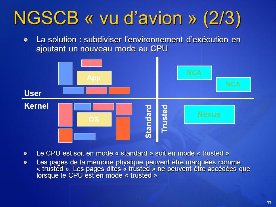 11 NGSCB « vu davion » (2/3) Le CPU est soit en mode « standard » soit en mode « trusted » Les pages de la mémoire physique peuvent être marquées comm