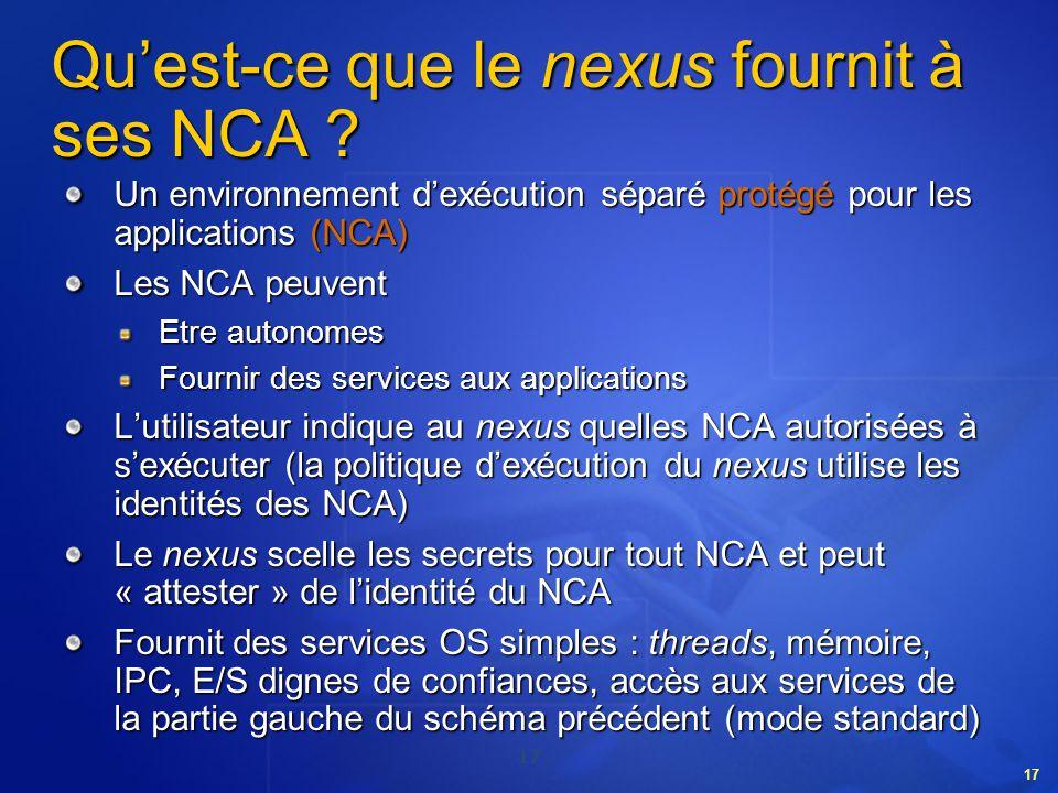 17 Quest-ce que le nexus fournit à ses NCA ? Un environnement dexécution séparé protégé pour les applications (NCA) Les NCA peuvent Etre autonomes Fou