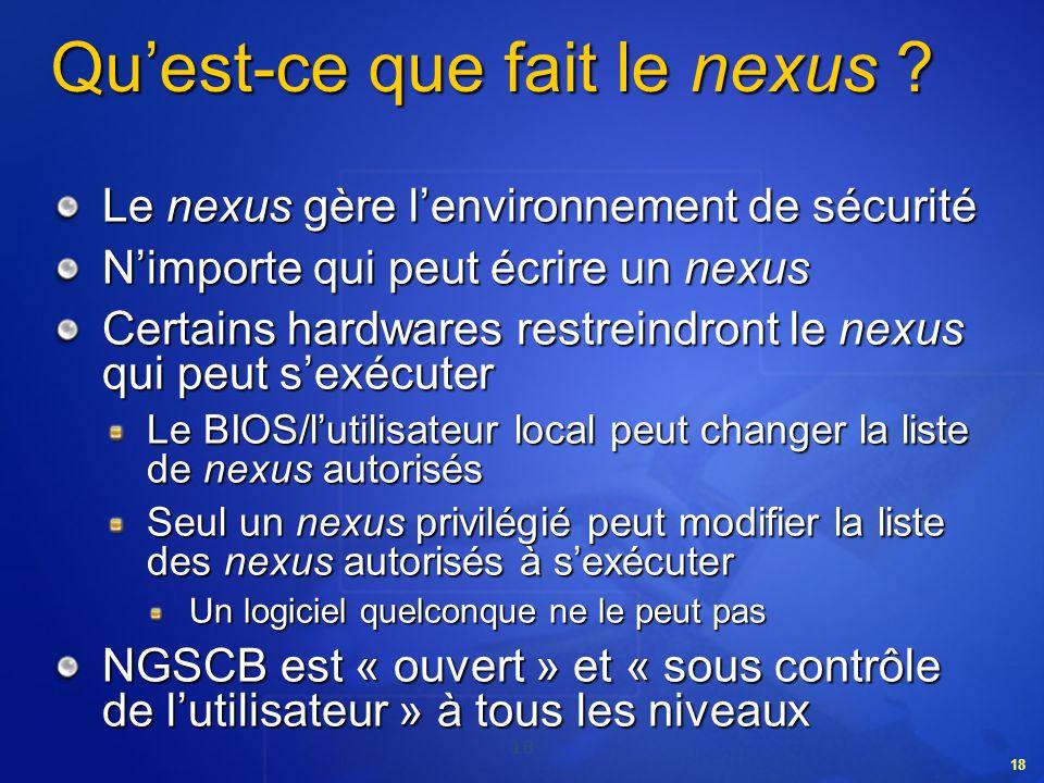 18 Quest-ce que fait le nexus ? Le nexus gère lenvironnement de sécurité Nimporte qui peut écrire un nexus Certains hardwares restreindront le nexus q