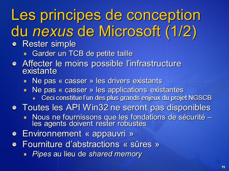 19 Les principes de conception du nexus de Microsoft (1/2) Rester simple Garder un TCB de petite taille Affecter le moins possible linfrastructure exi