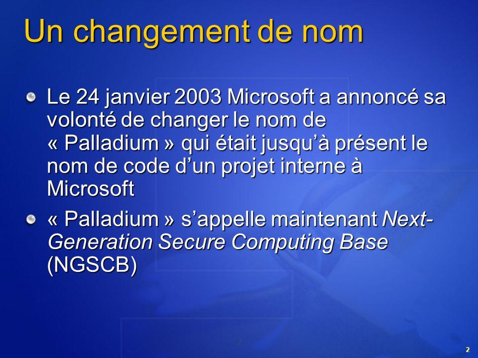 2 2 Un changement de nom Le 24 janvier 2003 Microsoft a annoncé sa volonté de changer le nom de « Palladium » qui était jusquà présent le nom de code