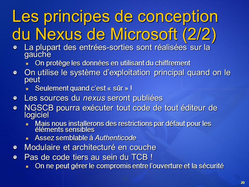 20 Les principes de conception du Nexus de Microsoft (2/2) La plupart des entrées-sorties sont réalisées sur la gauche On protège les données en utili