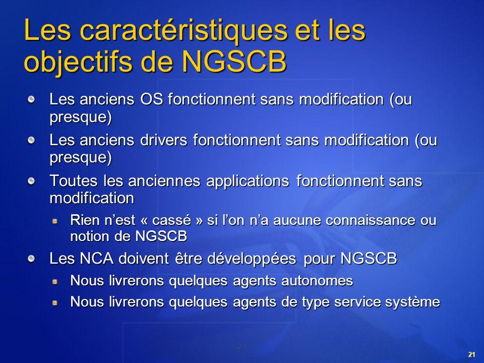 21 Les caractéristiques et les objectifs de NGSCB Les anciens OS fonctionnent sans modification (ou presque) Les anciens drivers fonctionnent sans mod