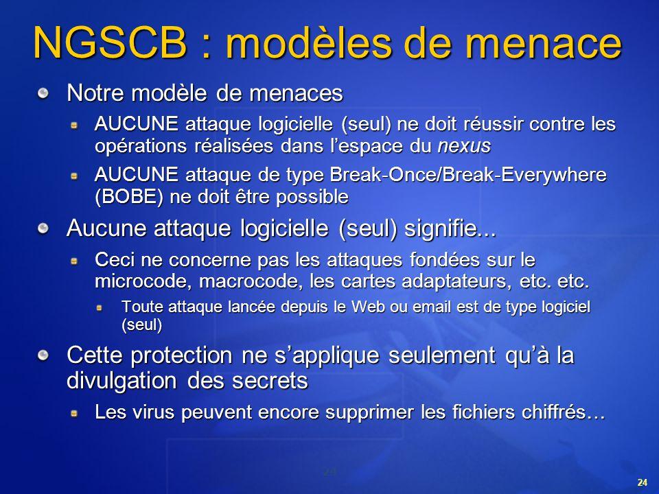24 NGSCB : modèles de menace Notre modèle de menaces AUCUNE attaque logicielle (seul) ne doit réussir contre les opérations réalisées dans lespace du