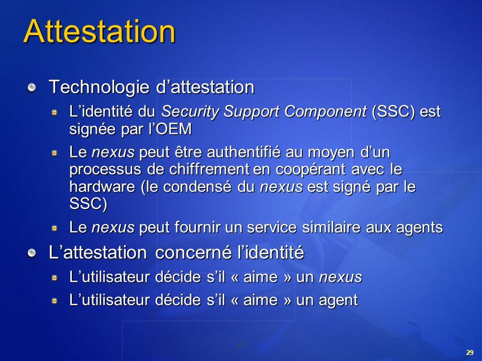 29 Attestation Technologie dattestation Lidentité du Security Support Component (SSC) est signée par lOEM Le nexus peut être authentifié au moyen dun