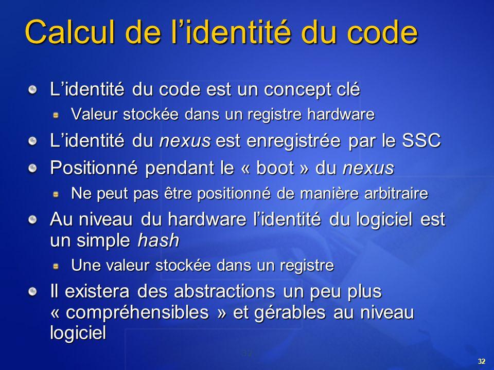 32 Calcul de lidentité du code Lidentité du code est un concept clé Valeur stockée dans un registre hardware Lidentité du nexus est enregistrée par le