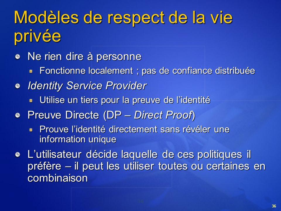 36 Modèles de respect de la vie privée Ne rien dire à personne Fonctionne localement ; pas de confiance distribuée Identity Service Provider Utilise u