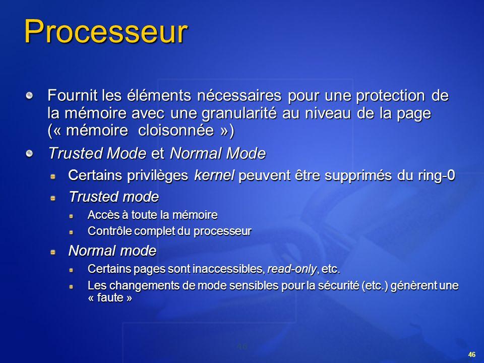 46 Processeur Fournit les éléments nécessaires pour une protection de la mémoire avec une granularité au niveau de la page (« mémoire cloisonnée ») Tr