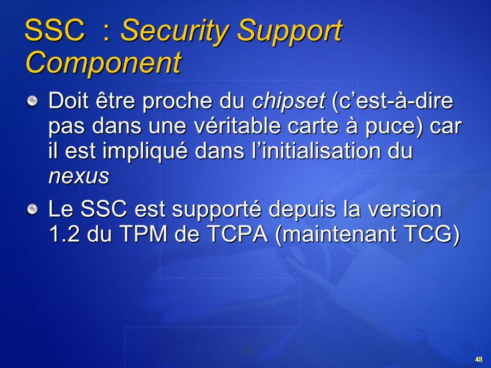 48 SSC : Security Support Component Doit être proche du chipset (cest-à-dire pas dans une véritable carte à puce) car il est impliqué dans linitialisa