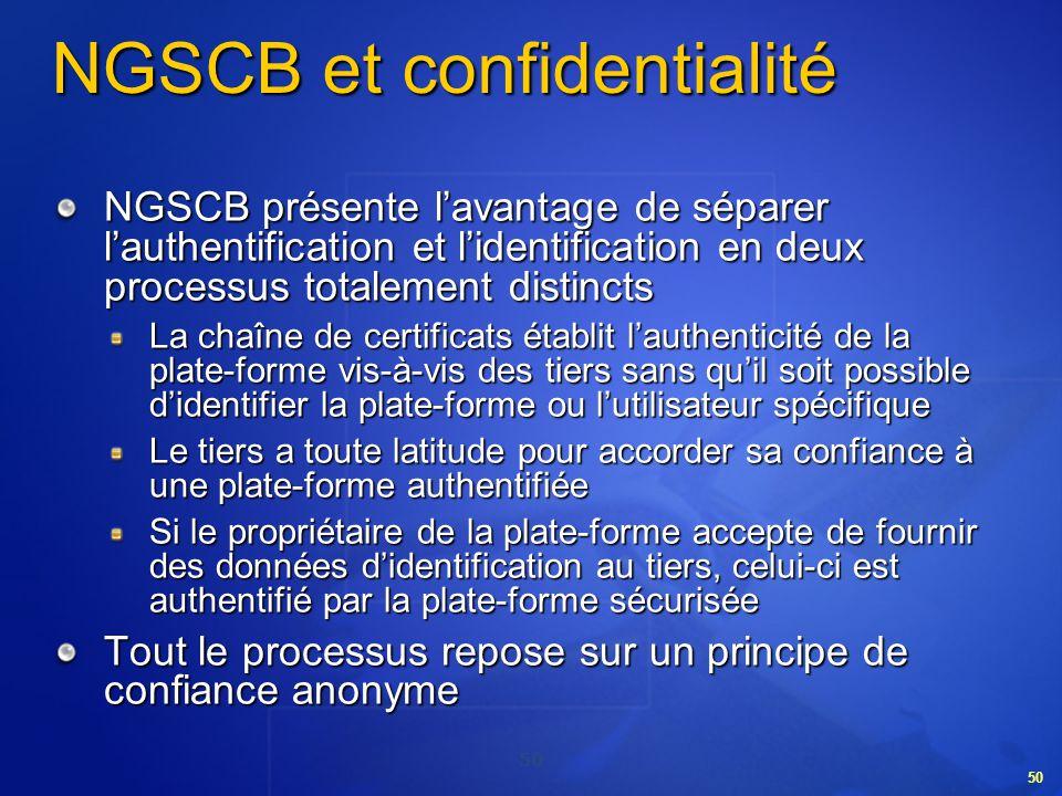 50 NGSCB et confidentialité NGSCB présente lavantage de séparer lauthentification et lidentification en deux processus totalement distincts La chaîne
