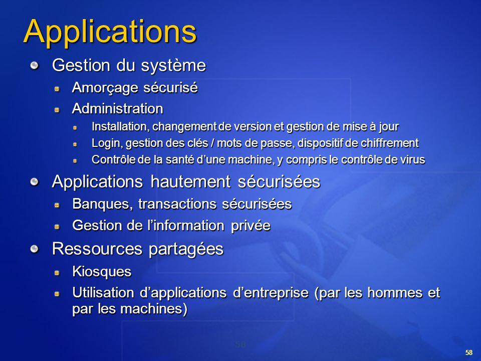 58 Applications Gestion du système Amorçage sécurisé Administration Installation, changement de version et gestion de mise à jour Login, gestion des c