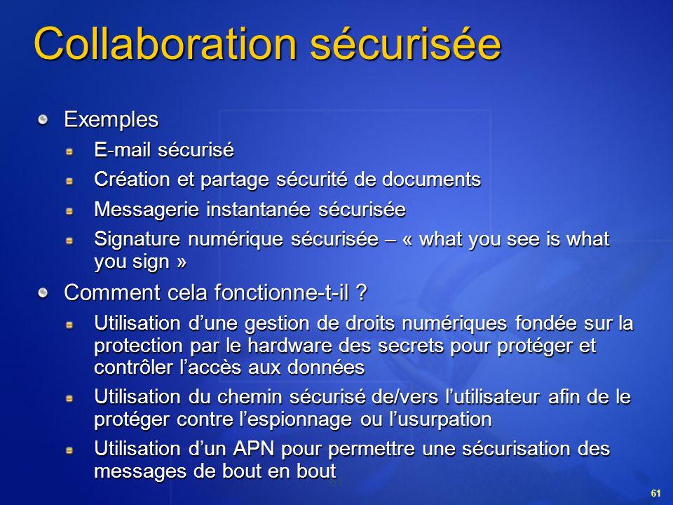 61 Collaboration sécurisée Exemples E-mail sécurisé Création et partage sécurité de documents Messagerie instantanée sécurisée Signature numérique séc