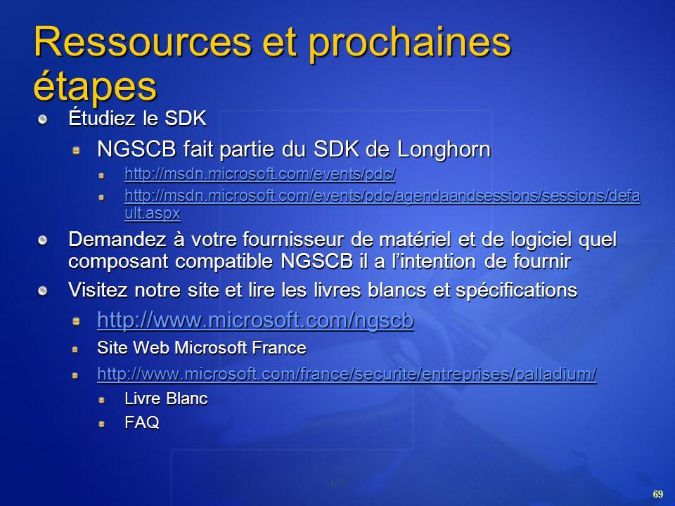 69 Ressources et prochaines étapes Étudiez le SDK NGSCB fait partie du SDK de Longhorn http://msdn.microsoft.com/events/pdc/ http://msdn.microsoft.com