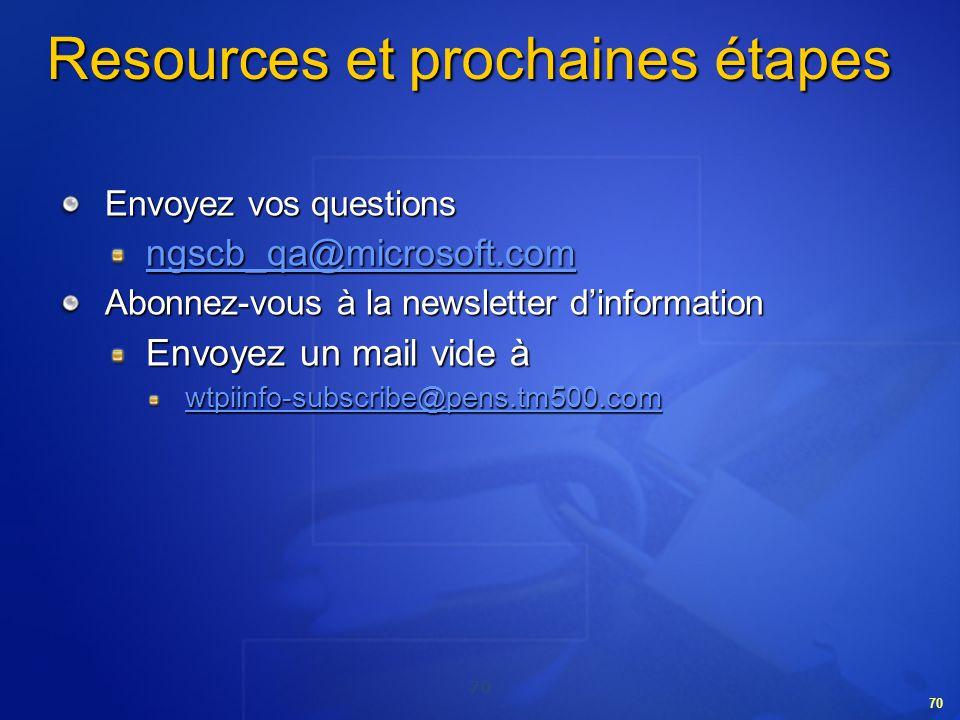 70 Resources et prochaines étapes Envoyez vos questions ngscb_qa@microsoft.com Abonnez-vous à la newsletter dinformation Envoyez un mail vide à wtpiin