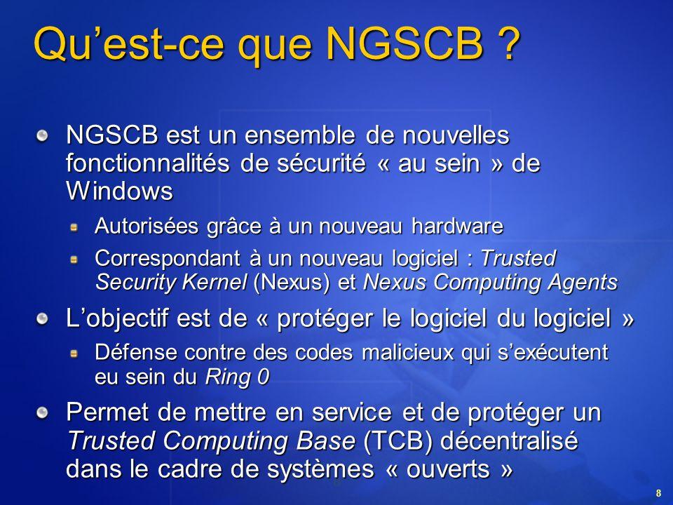 49 La chaîne de certificats NGSCB sappuie sur une chaîne de signatures numériques pour valider lintégrité de la plate-forme Une plate-forme NGSCB inclura les signatures de la plupart ou de la totalité des acteurs de la phase de production, notamment Un tiers de confiance, certifiant le fabricant du SSC Le fabricant du SSC, certifiant que le SSC est digne de confiance Lassembleur de la carte mère, certifiant lassemblage du SSC sur une carte mère autorisée Le fabricant OEM du système, certifiant que la chaîne dassemblage de la carte mère est intacte Ces certificats seront ajoutés à la plate-forme via du matériel sécurisé (lui-même probablement fondé sur NGSCB) Les tiers auront ainsi la certitude davoir affaire à un véritable système NGSCB dans lequel ils peuvent avoir toute confiance, et non à une imitation