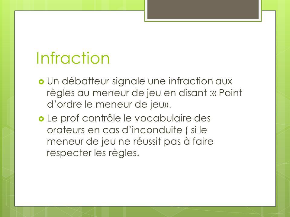 Infraction Un débatteur signale une infraction aux règles au meneur de jeu en disant :« Point dordre le meneur de jeu».