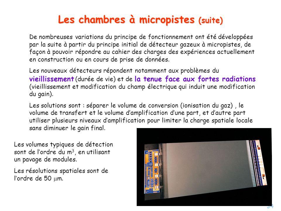 34 Les chambres à micropistes (suite) De nombreuses variations du principe de fonctionnement ont été développées par la suite à partir du principe initial de détecteur gazeux à micropistes, de façon à pouvoir répondre au cahier des charges des expériences actuellement en construction ou en cours de prise de données.