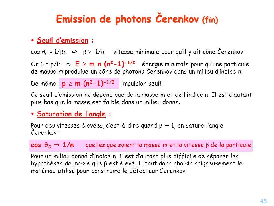45 Emission de photons Čerenkov (fin) Seuil demission : cos C = 1/ n 1/n vitesse minimale pour quil y ait cône Čerenkov Or = p/E E m n (n 2 -1) -1/2 énergie minimale pour quune particule de masse m produise un cône de photons Čerenkov dans un milieu dindice n.
