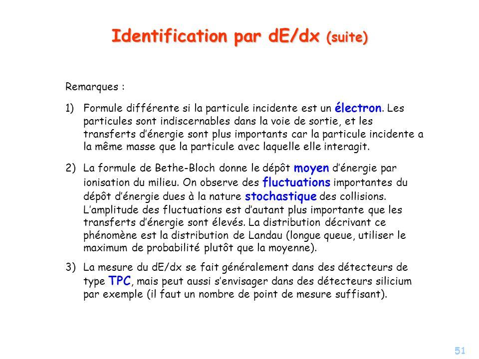 51 Identification par dE/dx (suite) Remarques : 1) 1)Formule différente si la particule incidente est un électron.