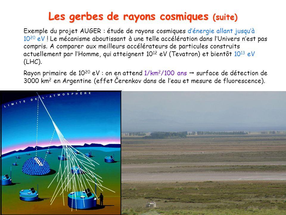 6 Les gerbes de rayons cosmiques (suite) Exemple du projet AUGER : étude de rayons cosmiques dénergie allant jusquà 10 20 eV .