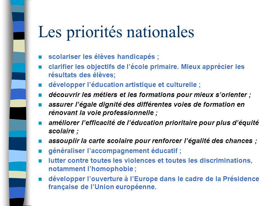 Les priorités nationales scolariser les élèves handicapés ; clarifier les objectifs de lécole primaire. Mieux apprécier les résultats des élèves; déve
