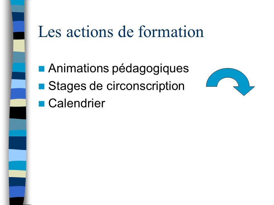 Les actions de formation Animations pédagogiques Stages de circonscription Calendrier