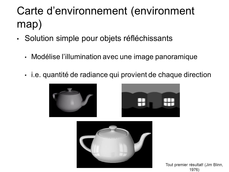 Carte denvironnement (environment map) Solution simple pour objets réfléchissants Modélise lillumination avec une image panoramique i.e. quantité de r