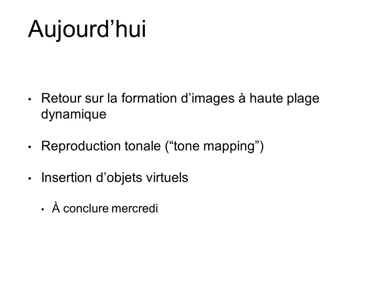 Aujourdhui Retour sur la formation dimages à haute plage dynamique Reproduction tonale (tone mapping) Insertion dobjets virtuels À conclure mercredi