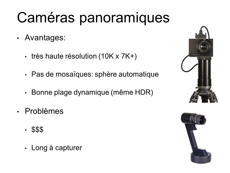 Caméras panoramiques Avantages: très haute résolution (10K x 7K+) Pas de mosaïques: sphère automatique Bonne plage dynamique (même HDR) Problèmes $$$ Long à capturer