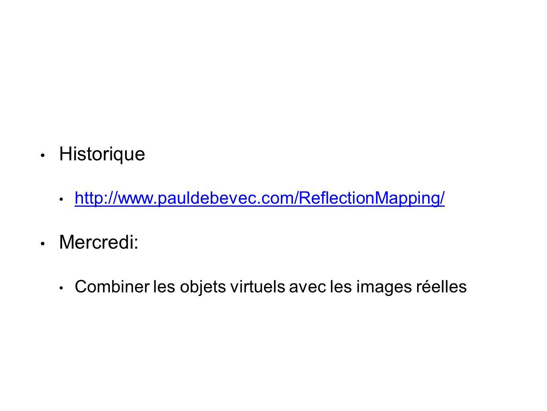 Historique http://www.pauldebevec.com/ReflectionMapping/ Mercredi: Combiner les objets virtuels avec les images réelles