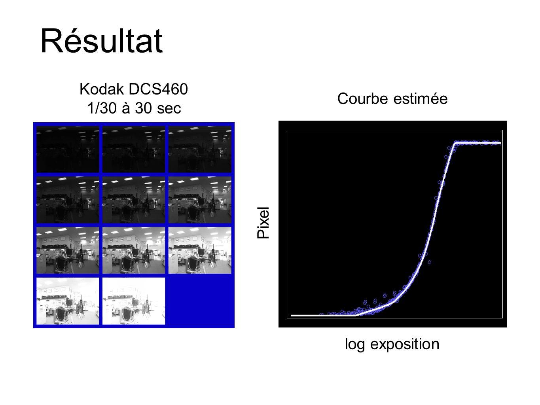 Résultat Courbe estimée log exposition Kodak DCS460 1/30 à 30 sec Pixel