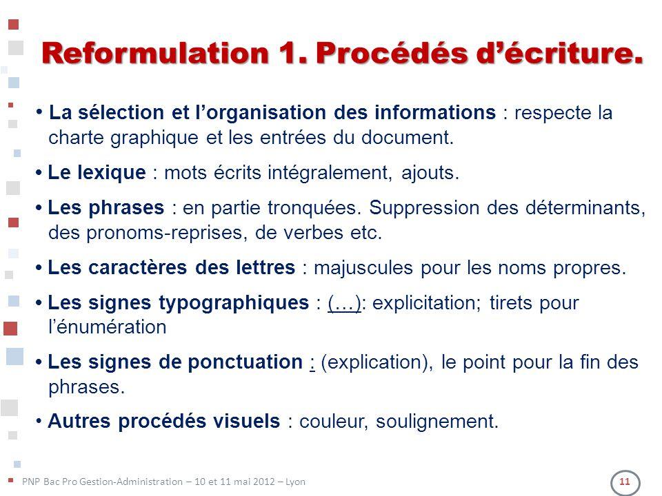 PNP Bac Pro Gestion-Administration – 10 et 11 mai 2012 – Lyon 11 Reformulation 1. Procédés décriture. La sélection et lorganisation des informations :