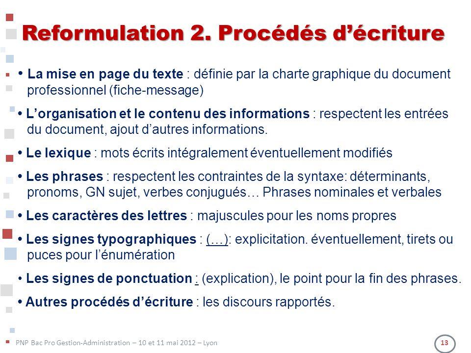 PNP Bac Pro Gestion-Administration – 10 et 11 mai 2012 – Lyon 13 Reformulation 2. Procédés décriture La mise en page du texte : définie par la charte