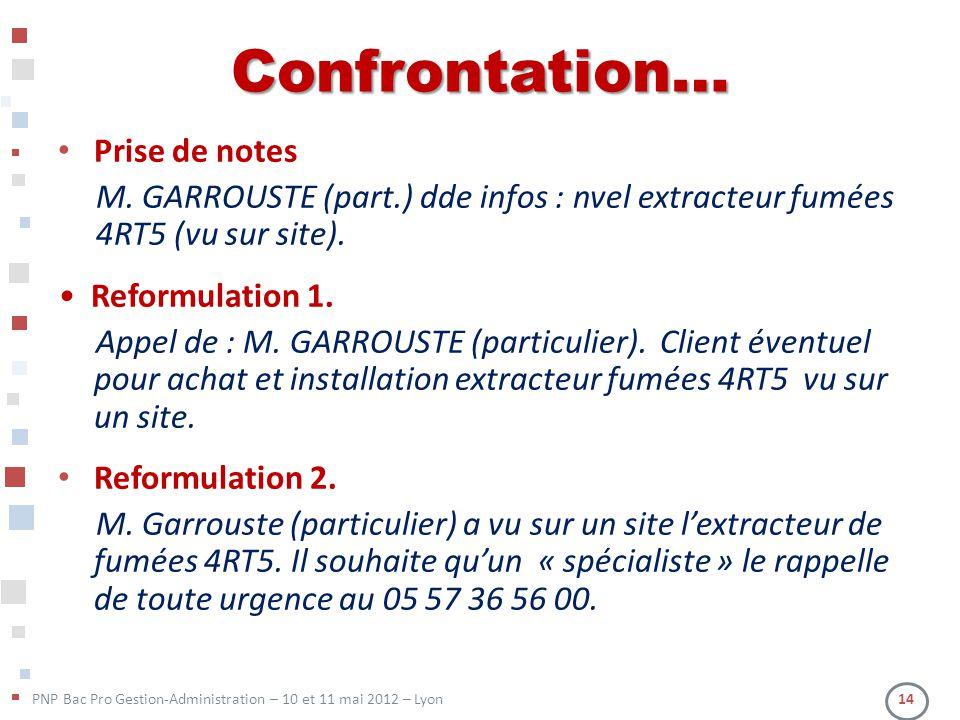 PNP Bac Pro Gestion-Administration – 10 et 11 mai 2012 – Lyon 14 Confrontation… Prise de notes M. GARROUSTE (part.) dde infos : nvel extracteur fumées