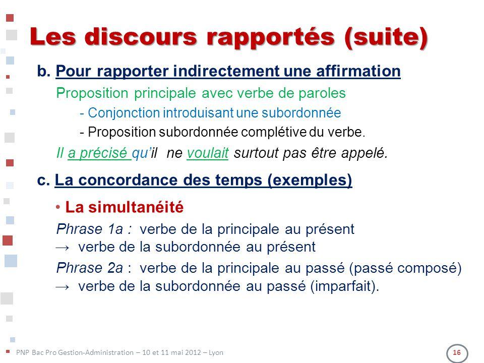 PNP Bac Pro Gestion-Administration – 10 et 11 mai 2012 – Lyon 16 Les discours rapportés (suite) b. Pour rapporter indirectement une affirmation Propos