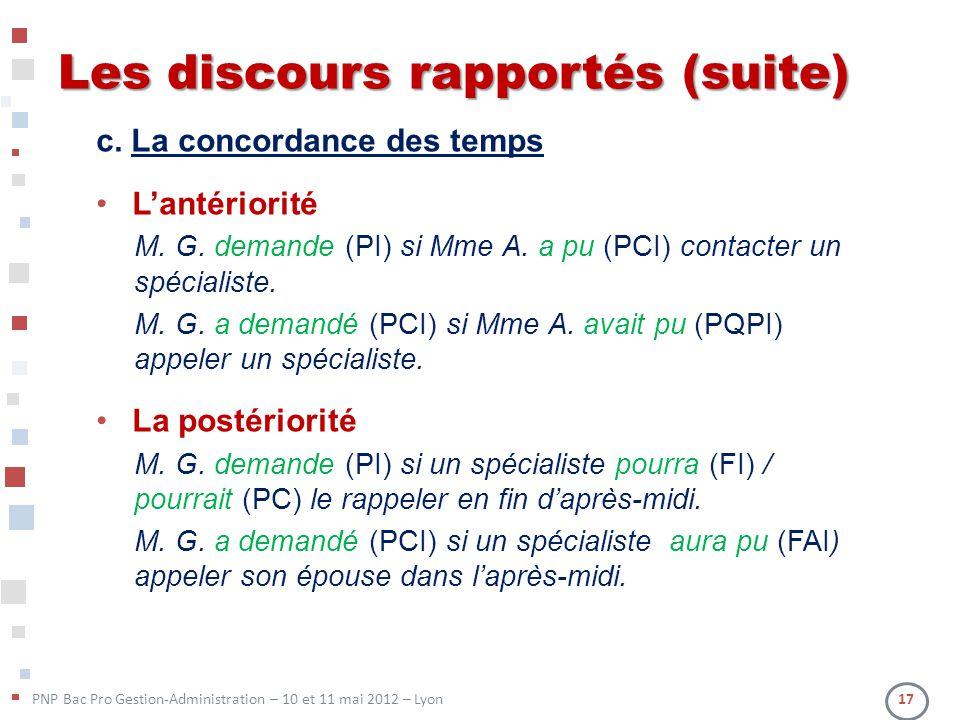 PNP Bac Pro Gestion-Administration – 10 et 11 mai 2012 – Lyon 17 Les discours rapportés (suite) c. La concordance des temps Lantériorité M. G. demande