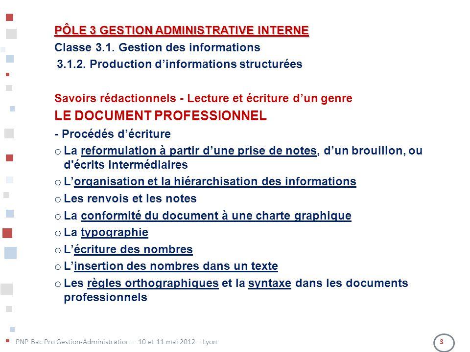 PÔLE 3 GESTION ADMINISTRATIVE INTERNE Classe 3.1. Gestion des informations 3.1.2. Production dinformations structurées Savoirs rédactionnels - Lecture