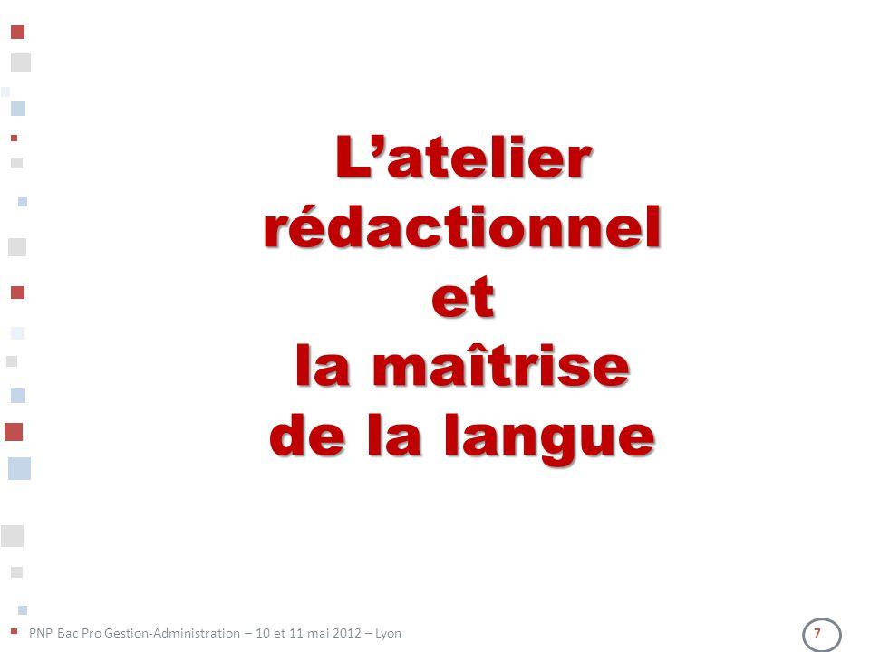 Latelier rédactionnel et la maîtrise de la langue PNP Bac Pro Gestion-Administration – 10 et 11 mai 2012 – Lyon 7
