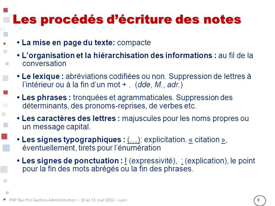 PNP Bac Pro Gestion-Administration – 10 et 11 mai 2012 – Lyon 9 Les procédés décriture des notes La mise en page du texte: compacte Lorganisation et l