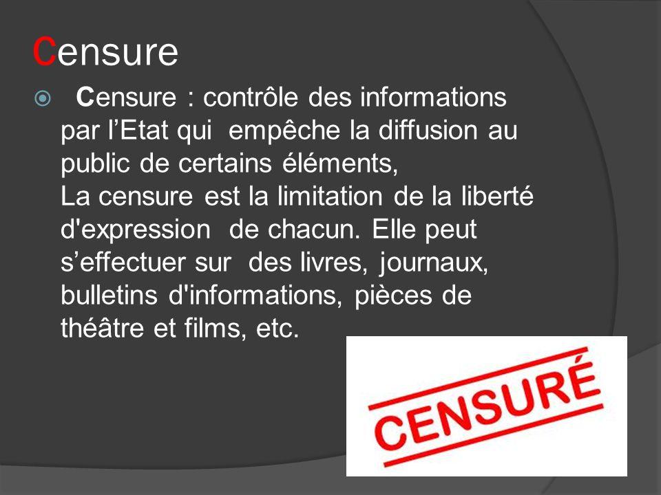 Censure Censure : contrôle des informations par lEtat qui empêche la diffusion au public de certains éléments, La censure est la limitation de la libe