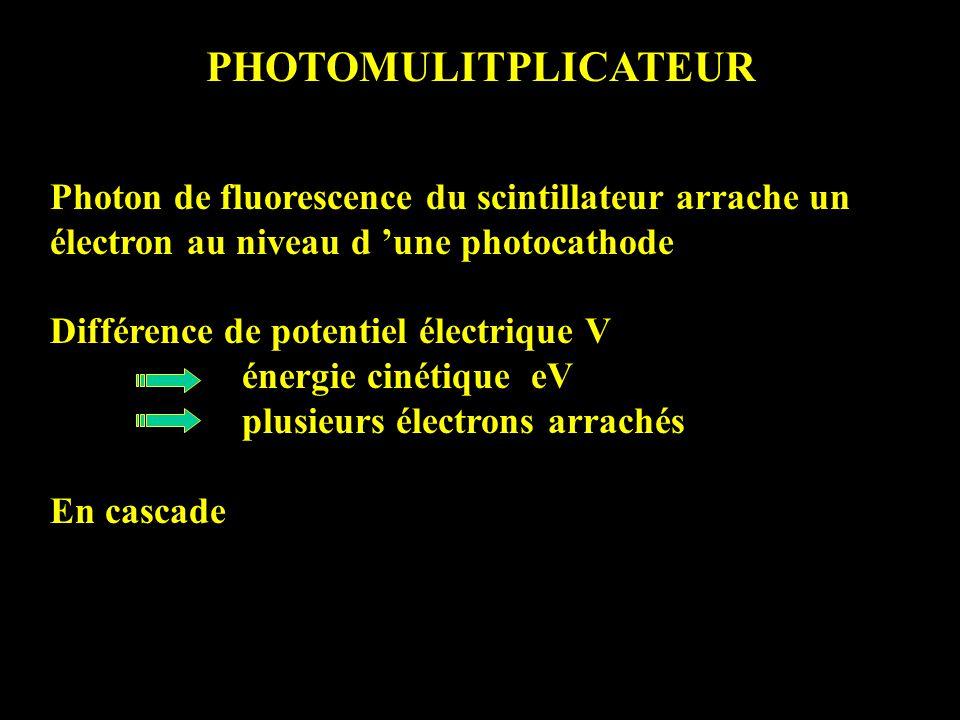 PHOTOMULITPLICATEUR Photon de fluorescence du scintillateur arrache un électron au niveau d une photocathode Différence de potentiel électrique V énergie cinétique eV plusieurs électrons arrachés En cascade