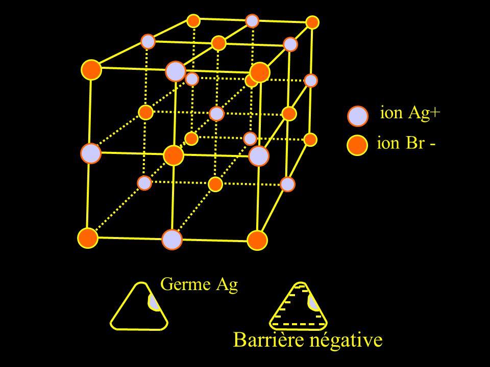 ion Ag+ ion Br - Barrière négative Germe Ag