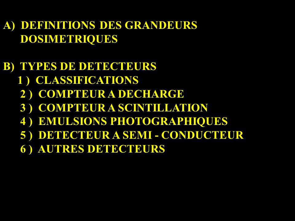 A) DEFINITIONS DES GRANDEURS DOSIMETRIQUES B) TYPES DE DETECTEURS 1 ) CLASSIFICATIONS 2 ) COMPTEUR A DECHARGE 3 ) COMPTEUR A SCINTILLATION 4 ) EMULSIONS PHOTOGRAPHIQUES 5 ) DETECTEUR A SEMI - CONDUCTEUR 6 ) AUTRES DETECTEURS