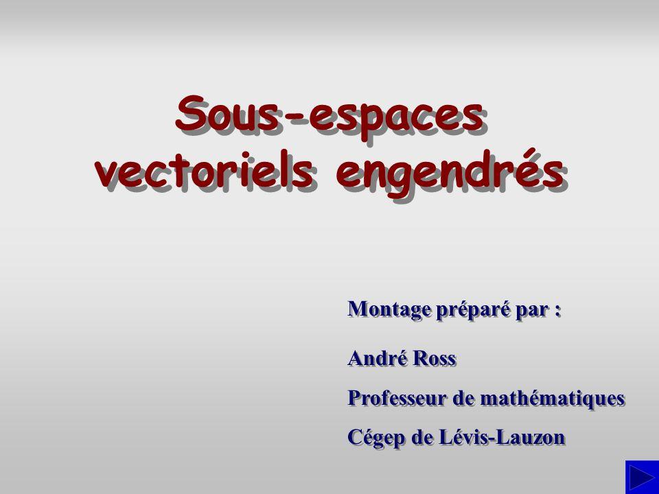 Décrire le sous-espace vectoriel de R 3 engendré par les vecteurs : SS S Exercice v1v1 v2v2 = (3; –2; 1), = (4; 1; 3) etv3v3 = (5; 4; 5) = L 1 + 2L 2 L 2 L 3 – 4L 2 413 545 –213 07 11 134 0–7–11 det (v1,v1,v2,v2,v3)v3)= = 0 Calculons dabord le déterminant : Puisque le déterminant est nul, les vecteurs sont linéairement dépendants et ne peuvent former une base de R 3.