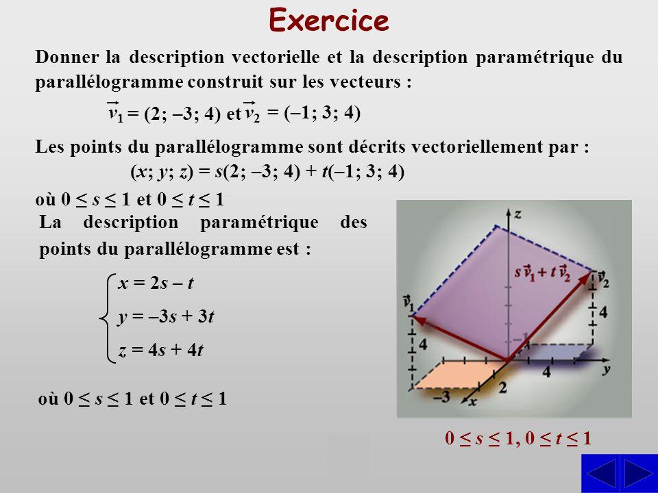 Exercice Les points du parallélogramme sont décrits vectoriellement par : (x; y; z) = s(2; –3; 4) + t(–1; 3; 4) Donner la description vectorielle et l