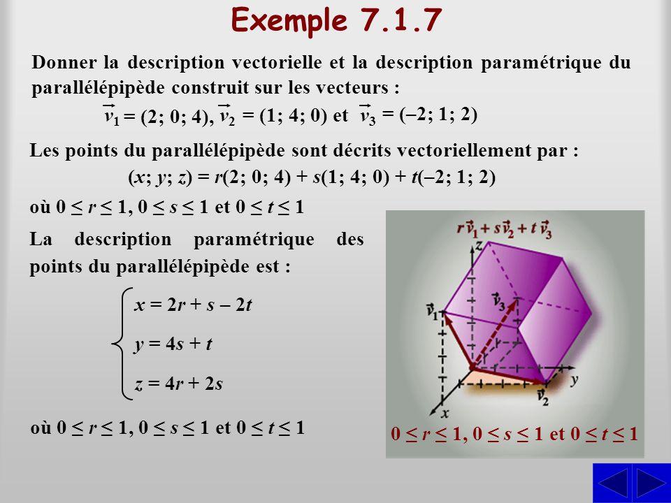 Exemple 7.1.7 Les points du parallélépipède sont décrits vectoriellement par : 0 r 1, 0 s 1 et 0 t 1 (x; y; z) = r(2; 0; 4) + s(1; 4; 0) + t(–2; 1; 2)