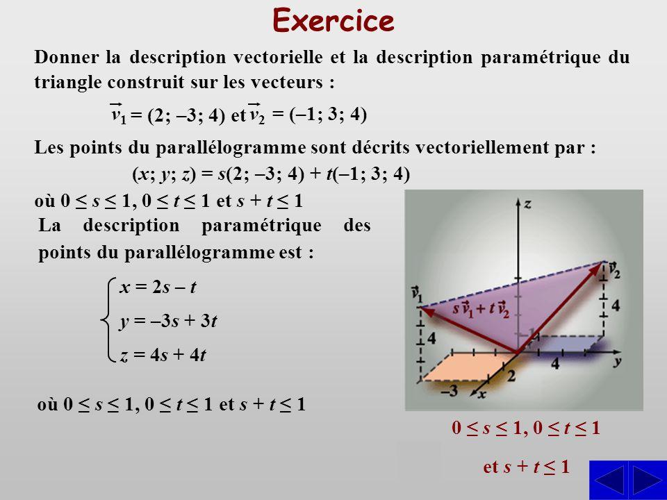 Exercice 0 s 1, 0 t 1 et s + t 1 Les points du parallélogramme sont décrits vectoriellement par : (x; y; z) = s(2; –3; 4) + t(–1; 3; 4) Donner la desc
