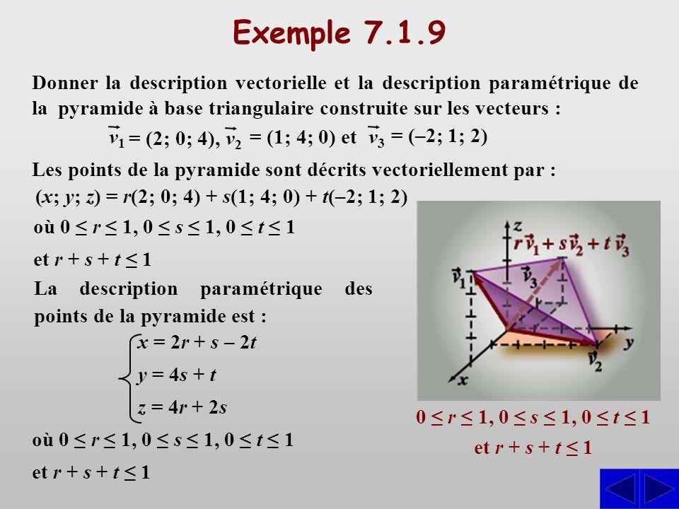 Exemple 7.1.9 0 r 1, 0 s 0 t 1 et r + s + t 1 Les points de la pyramide sont décrits vectoriellement par : (x; y; z) = r(2; 0; 4) + s(1; 4; 0) + t(–2;