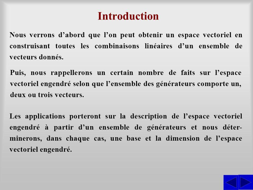 Description vectorielle de lieux géométriques Les sous-espaces vectoriels ne sont pas les seuls sous-ensembles intéressants dun espace vectoriel.